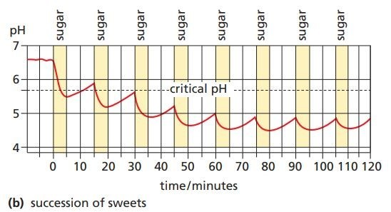 effect of sucking sweets at the rate of four an hour